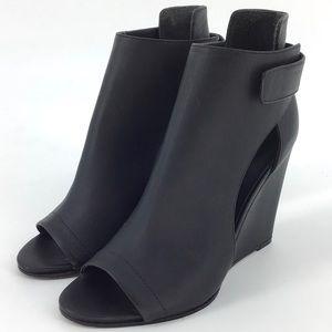 Vince Katia Leather Open Toe Platform Wedge Bootie